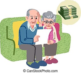 Aged couple with financial problem