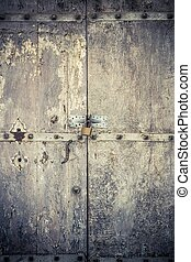 aged dark vintage wooden door as background