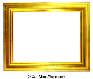 Aged golden frame isolated on a white background