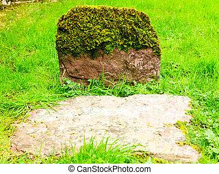 Aged grovestone in an ancient church graveyard