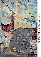 Aged, grunge concrete wall with bricks. Gloomy, moody feel. Uneven, textured surface. copy space.