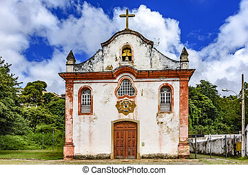Aged historical church in Ouro Preto city - Aged historical...