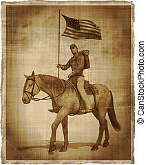 Aged Image of a Civil War Union Soldier on Horseback
