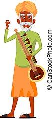 aged indian man with sitar on concert cartoon vector