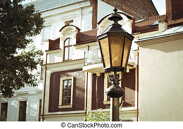 Aged lantern on the avenue
