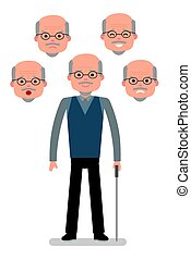 Aged Man with different facial expressions. Joy, sadness, anger, surprise, irritation.