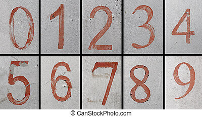 Aged numbers on a silver metal plate