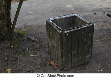 Aged outdoor wooden grey trash waste bin - Old wooden trash...
