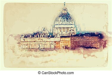 St. Peter's cathedral in Rome, Italy - Aged painting of St. ...