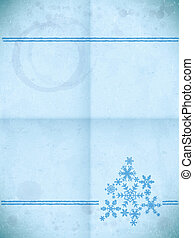 Aged paper card with snowflakes
