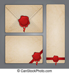 Aged paper envelope with wax seal - Aged paper envelope and...