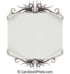 Aged Paper Scroll or Script on White Background. Vector...