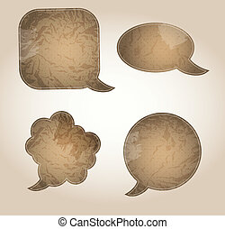 aged paper speech bubbles vector illustration