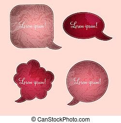 aged paper speech bubbles vector illustration