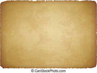 Aged paper with torn edges - Brown scratched rugged...