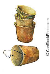 Aged patina on terra cotta plant pots. Hand drawn watercolor painting on white background.
