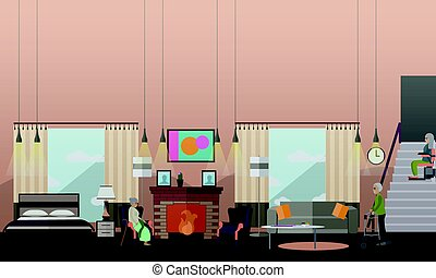 Aged people at home vector illustration in flat style -...