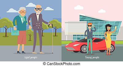 Aged People Walking in Park. Young Couple Near Car