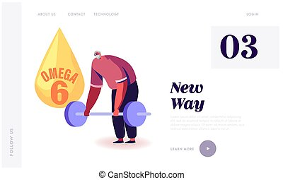 Aged Person High Energy Power and Vitality, Healthy Nutrition Website Landing Page. Good Looking Senior Man Applying Omega 6 Oils and Lifting Barbell Web Page Banner. Cartoon Flat Vector Illustration