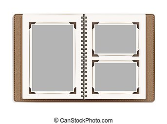 aged photo album pages with retro photo frames. vector...