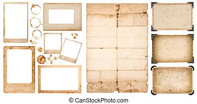 Aged photo frames used paper sheet coffee stains scrapbook -...