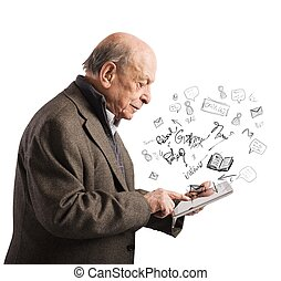 Aged reads books with tablet