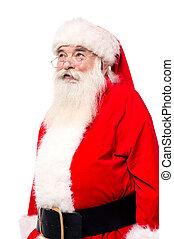 Aged Santa looking upwards - Santa claus looking away. ...