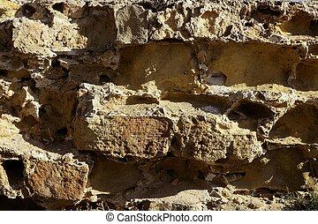 Aged stone walls, masonry in Spain