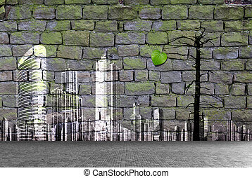 Aged street wall background, ecology concept