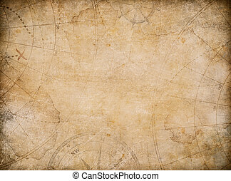 aged treasure map background with compass - aged treasure...