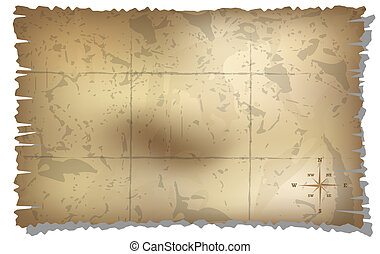 aged treasure map with compass background - map with rose of...