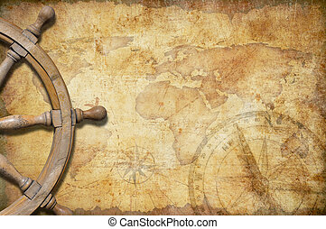 aged treasure map with steering wheel - aged treasure map...