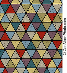 Aged triangle tiles seamless pattern, simplistic vector backgrou