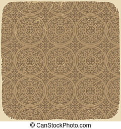 Aged vintage background with ancient seamless pattern. Vector illustration, EPS10.
