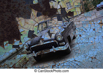 Aged vintage car background.