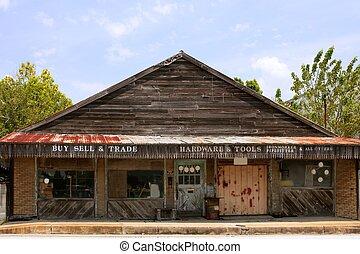 Aged vintage grunge wooden Texas store
