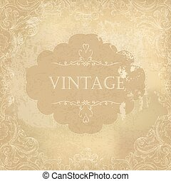 Aged vintage ornamental old paper background. Vector illustration