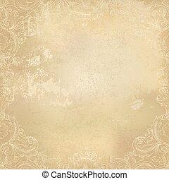 Aged vintage ornamental old paper background. Vector illustration