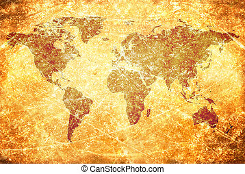 aged  vintage world map texture and background