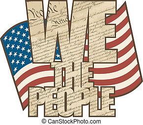 Aged We The People - Vectpr WE THE PEOPLE text design filled...