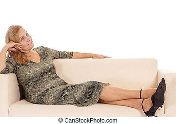 aged woman on sofa