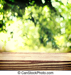 Rustic wooden boards in green leaves over shiny lights background