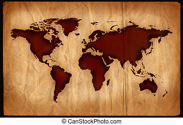 Aged World Map - World map on aged, grungy paper.