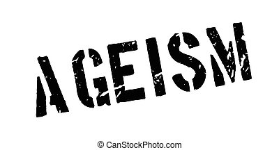 Ageism rubber stamp on white. Print, impress, overprint.
