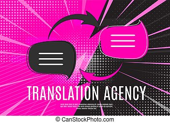 agence, vecteur, langue, traduction, bubble., parole, illustration, concept