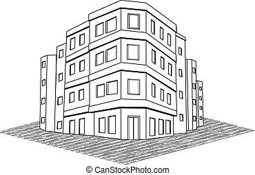 agencia inmobiliaria, moderno, vivienda, vector, edificio