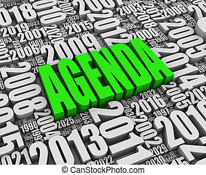 Agenda - AGENDA 3D text surrounded by calendar dates. Part...