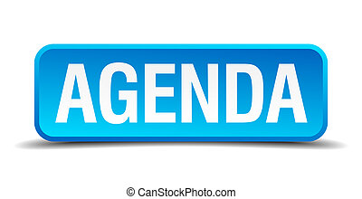 Agenda blue 3d realistic square isolated button