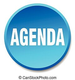 agenda blue round flat isolated push button