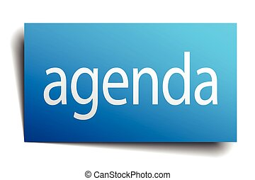 agenda blue square isolated paper sign on white